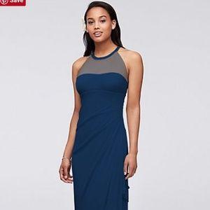 Navy blue bridesmaids dress (long)